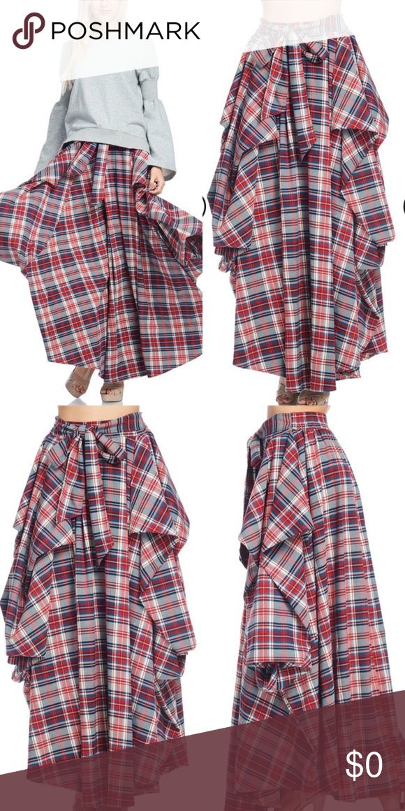 Pleated Plaid Skirt 4 Gore pleated panel Skirt with belt. 90% Cotton 10% Spandex. BEAUTIFULLY MADE FLANNEL SKIRT. Elastic waistband. Medium weight and comfortable. Wearing a medium in pic normally a 12-14. Skirts