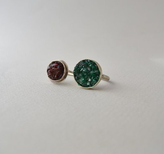 red druzy stone ring/green drazy stone silver by AbyCraft on Etsy