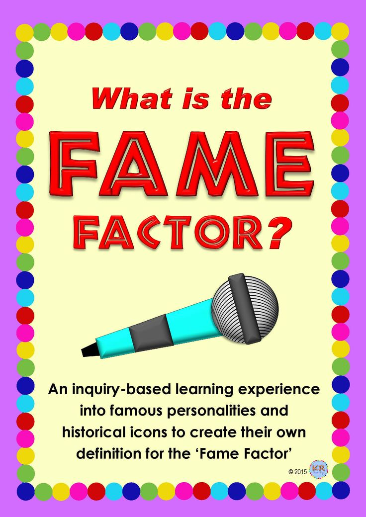 What is the Fame Factor? In this project/assignment, students choose famous individuals who have the 'Fame Factor' from four different categories to plan an inquiry-based research assignment. Students research, compare and contrast their individuals to come up with a definition for 'Fame Factor'. Students then use the definition they create in producing several different examples of their learning. 58 pages for $15!