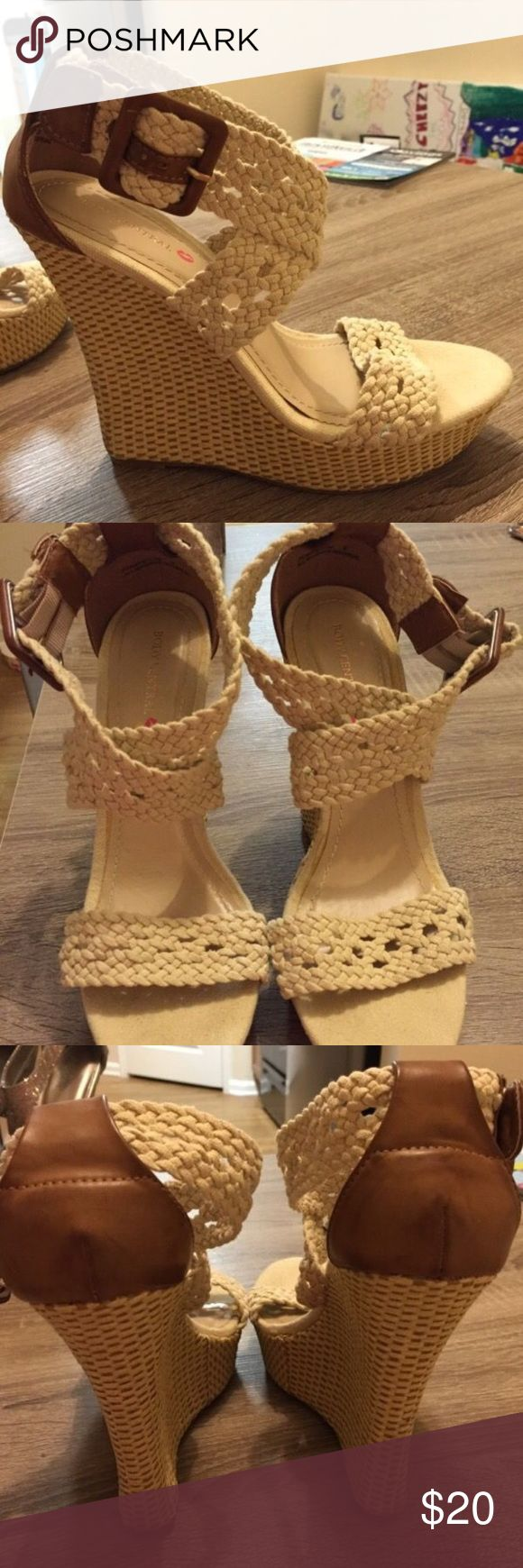 Cream/tan Body Central Wedges Brand new from Body Central. Approximately 5 inches high. Size 9. Body Central Shoes Wedges