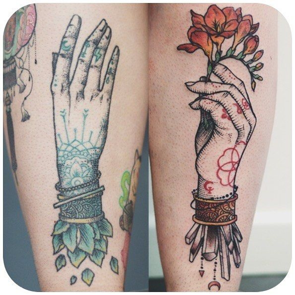 Fresh WTFDotworkTattoo Find Fresh from the Web Such a delight to hand a second hand on Lauras calves. Green one healed red one freshly tattooed #sangnoirtattoo #hands #engraving #dotwork #crystal #freesia #dwam #qttr #tattooisartmag dwam WTFDotWorkTattoo
