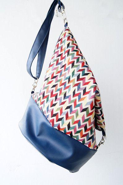 Plecak - torba w piękny wzór chevron w Leci Ptaszek na DaWanda.com