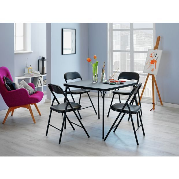 Buy HOME Quin Folding Table and 4 Folding Chairs - Black at Argos.co.uk, visit Argos.co.uk to shop online for Dining sets, Dining tables and chairs, Home and garden