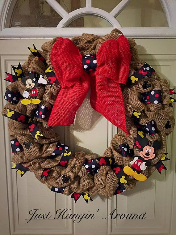 Hey, I found this really awesome Etsy listing at https://www.etsy.com/listing/234904170/16-mickey-mouse-burlap-wreath-with-red