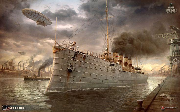 Chester сruiser wallaper. Steam punk. Made for World of Warships http://wiki.wargaming.net/ru/Navy:USS_Chester_(1907)