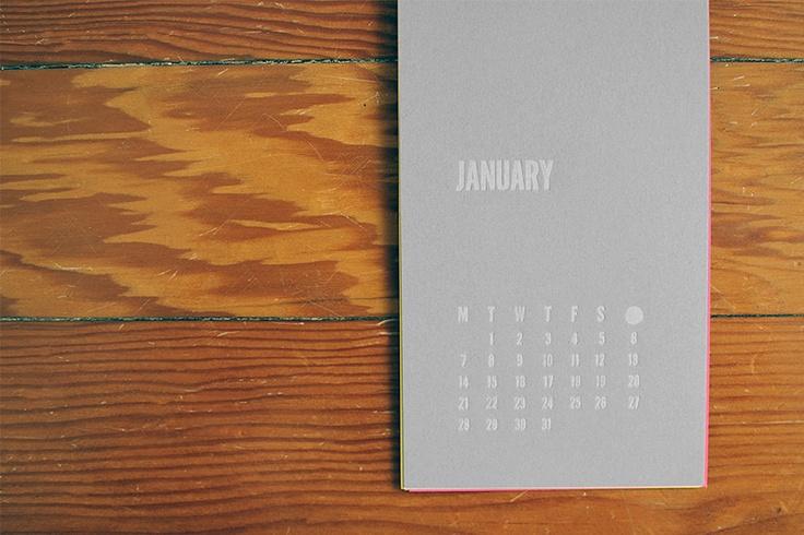 Letterpressed 2013 Calendar, January - Cecilia Hedin