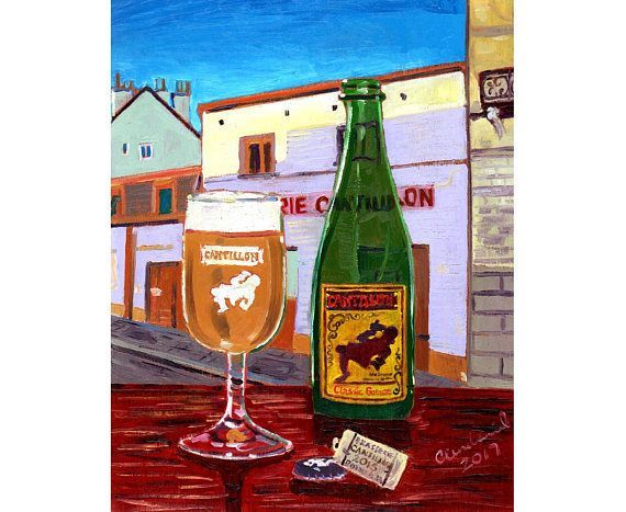 Cantillon Classic Gueuze, Belgian Beer Art, Brasserie Cantillon, Lambic Beer, Belgium Brewery Painting, Craft Beer Gift, Sour Beer, Bar Art. By Scott Clendaniel.  www.realartisbetter.etsy.com #beerart