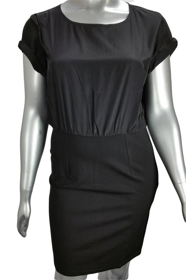 Two-in-one black pencil dress