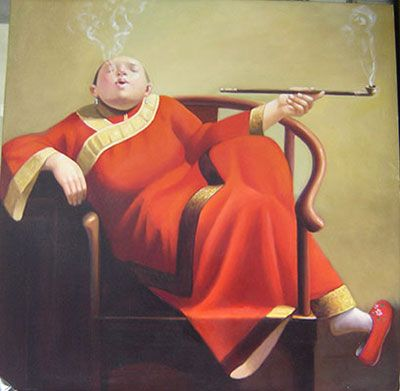 Smoking Woman, Hand Painted Chinese Oil Painting Art : http://www.chilture.com/oil-paintings-fat-woman-c-66_105.html
