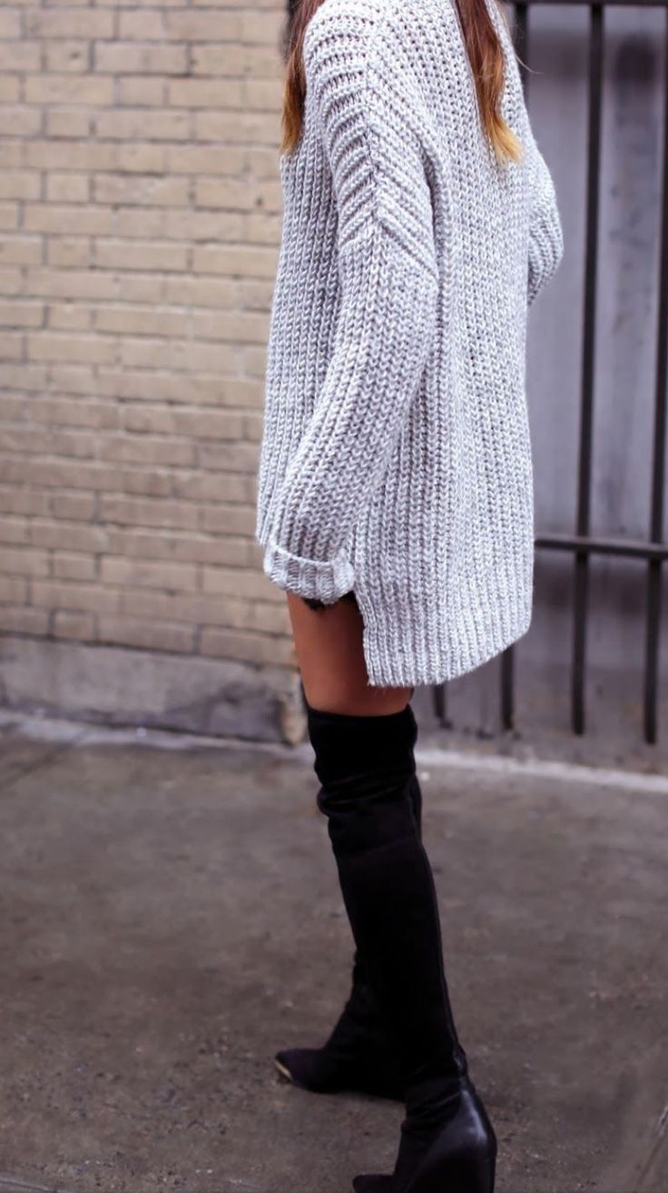 Oversized sweater and over-the-knee boots