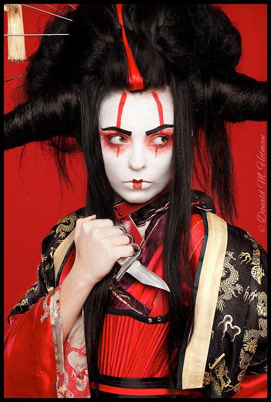 Black and Red Asian Geisha Anime warrior Wig. $350.00, via Etsy.