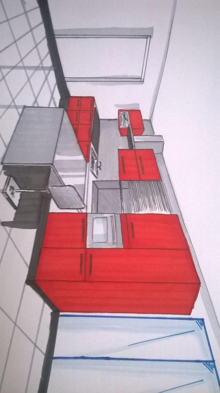 cuisine en inox rangements rouge laqu carrelage gris chrom mur blanc - Cuisine Blanc Mur Gris