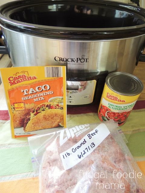 3 Ingredient Crock Pot Beef Tacos Ingredients (12 tacos) 1 lb of beef 1 envelope of taco seasoning (I'll use wildtree instead) 1 10 oz can of tomatoes & green chiles (like Rotel) Instructions Just dump all 3 ingredients in your Crock Pot, mix, and cook on Low for 5-6 hours.