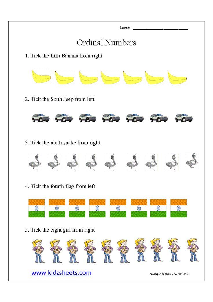 Ordinal Worksheets For Kindergarten