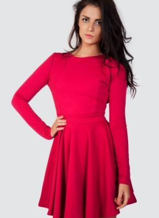 Red Long Sleeve Skater Dress with Open Cutout Back,  Dress, skater dress  open back dress, Casual