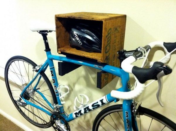 DIY Bike Shelf. Make a good looking bike shelf with recycled wood crate, and keep the bike out of the way and easy to access.