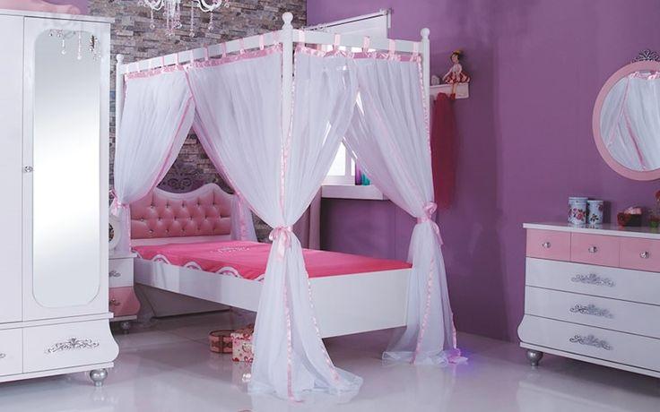 Παιδίκο κρεβάτι με ουρανό Princess Pink PP-408