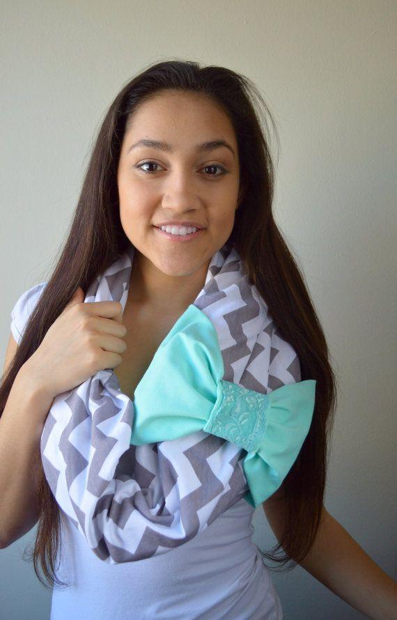 Tiffany Blue Bow Gray Chevron Infinity scarf,