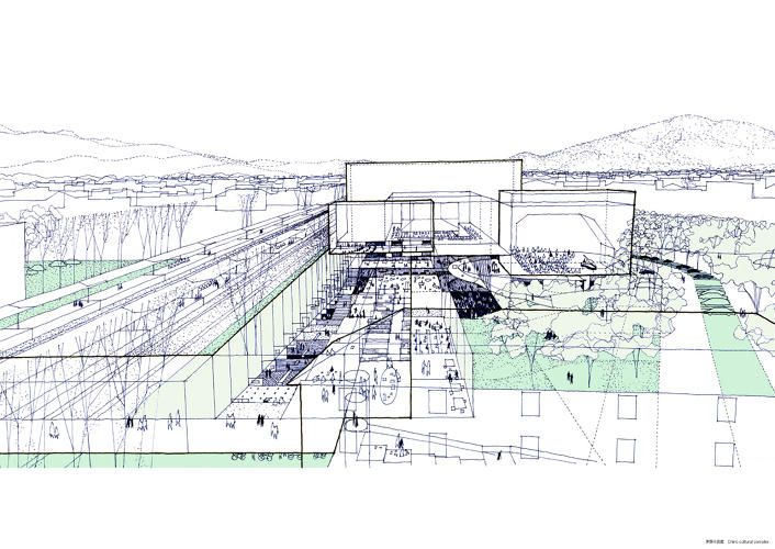 <p>Drawing for the proposal of the Chino Cultural Complex in Tokyo (2001)</p>