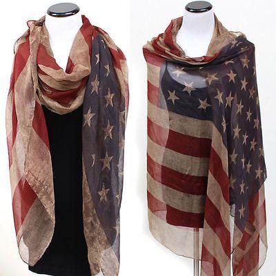 Long USA Vintage American Flag Scarf, Stars & Stripes Patriotic Scarves Wrap 30pcs/lot free shipping