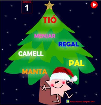 Joc de l'Emilia Alcaraz Delgado, pensat per a l'alumnat del Cicle Inicial, amb el que podran ampliar i treballar el vocabulari del Nadal. També és adient per a alumnat nouvingut.  Els nens i nenes hauran de trobar la paraula que no està relacionada amb les altres: la intrusa.