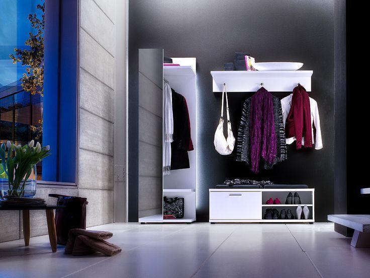 Garderobenkombination Rubin I 3tlg. Hochglanz Weiß Klare moderne Möbellinie Passend zur Möbelserie Rubin Kombination bestehend aus: 1 x Garderobenpaneel mit Spiegel mit 1...