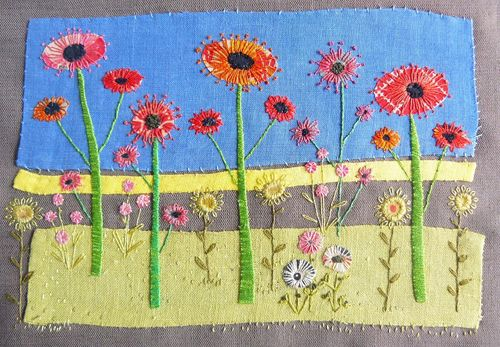 I'm delighted today to feature a very talented textile artist called Liz Cooksey. She uses a range of hand and machine textile techniques to produce her richly decorative floral-inspired embroideri...