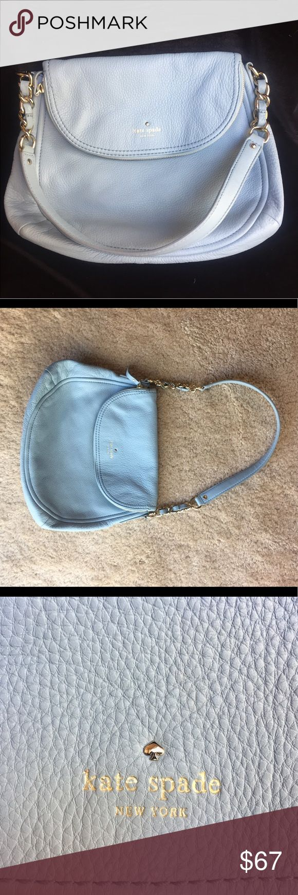 💎Something Blue💎 Kate Spade Handbag Beautiful Cyblue Aqua handbag, purse. Excellent gently used condition. No stains, scuffs, or marks. Kept in cloth dust bag, which comes with the purse. Originally purchased at Nordstrom Rack. Make an offer! kate spade Bags Shoulder Bags