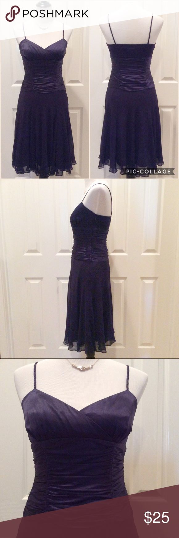 """Just In💕 Silk Chiffon Evening Dress Stunning silk chiffon evening dress. Deep plum...bordering on navy. Great condition. Worn once. Delicate braided spaghetti straps. Ruche pleating across the bodice for a flattering silhouette. Two layer silk chiffon full skirt. Side zip. Perfect for evening, wedding, prom and any formal occasion. 100% Silk. Measured laying flat, across and down. Approx 16.5""""B, 13.3""""W, 40L (from top of shoulder strap to bottom of hem). Nine West Dresses"""