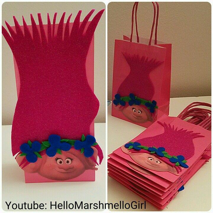 Marshmello Diy Trolls The Movie Poppy Birthday Party Favor Bags