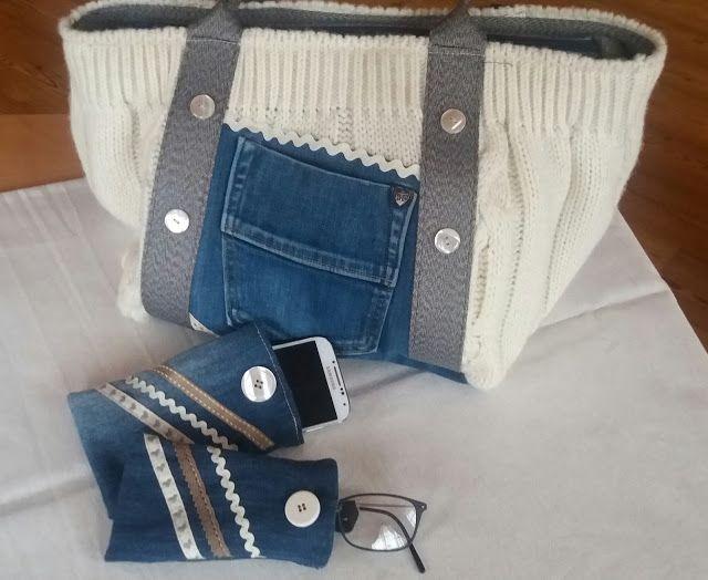 Anche con queste giornate di pioggia, siamo in continuo movimento!! Il nostro laboratorio sforna nuove idee. Con un paio di jeans rotti e un maglione inutilizzato, ecco cosa abbiamo realizzato!! Se anche tu vuoi avere una borsa con abbinato un portaocchiali e un portacellulare, mandaci i tuoi vecchi capi!!! Info: sirjoecreative@gmail.com