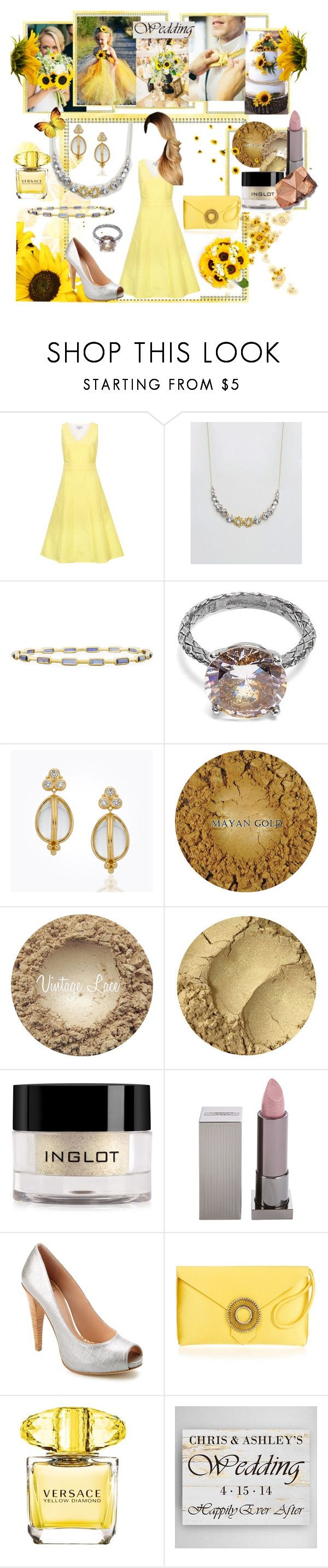 """Sunflower Wedding"" by aliceridler ❤ liked on Polyvore featuring Whistle & Wolf, Johnny Loves Rosie, Ippolita, Bottega Veneta, Inglot, Lipstick Queen, Stuart Weitzman, Versace and Home Decorators Collection"