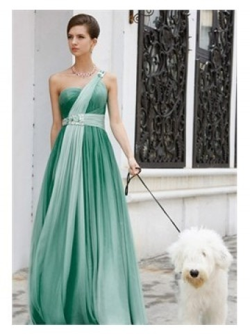 Beaded A-line One-shoulder Chiffon Evening / Prom Dress #Evening #Prom #DressesEvening Dresses, Ball Gowns, Bridesmaid Dresses, Green, Evening Gowns, One Shoulder, Chiffon, Prom Dresses, The Dresses