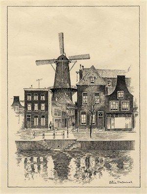 Lange Haven, hoek Walvisstraat en molen de Walvisch. Octave de Coninck