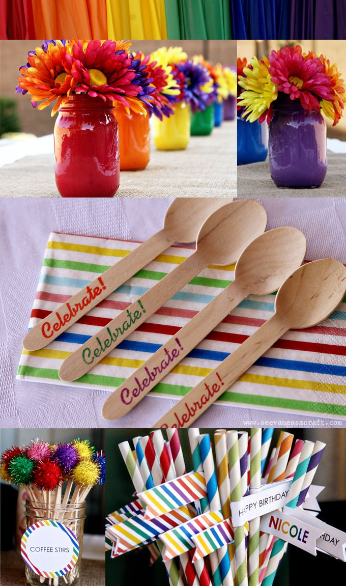 Rainbow Party #straws #utensils #masonjars.  find items like these at www.partystock.ca