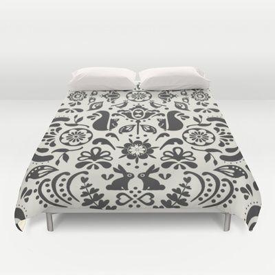 © www.patternpenny.com Tonal folklore-Black & white Duvet Cover society6.com