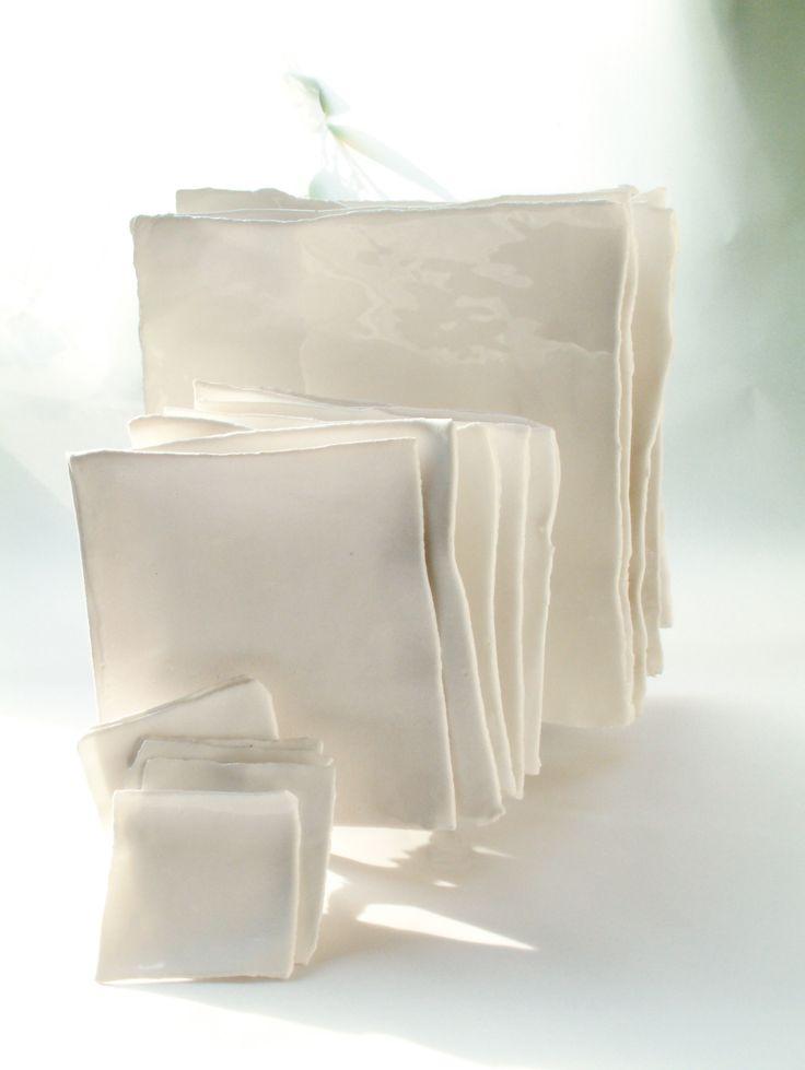 Earth vierkante borden van Fine Bone China porselein in 4 maten. - Roos van de Velde Tableware for Serax