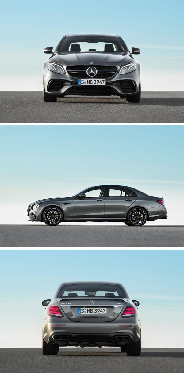 A highlight from every perspective: the new Mercedes-AMG E63 S 4MATIC. [Combined fuel consumption 9.2–8.9 l/100km | combined CO2 emission 209–203 g/km | http://mb4.me/efficiency_statement]