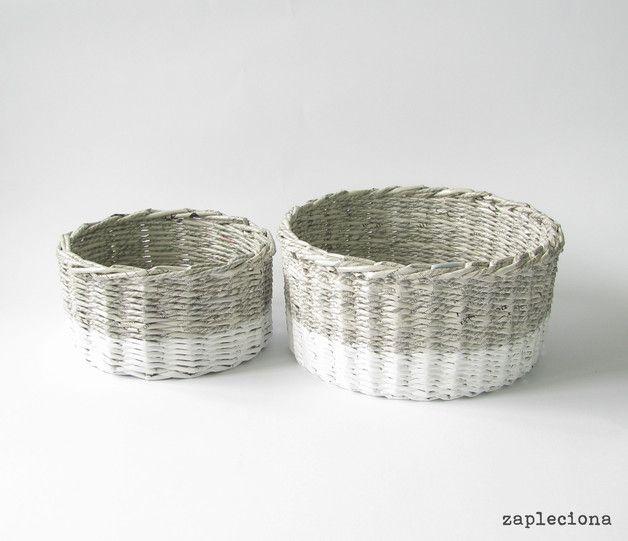 Zestaw koszy Gray&White - zapleciona - Koszyki