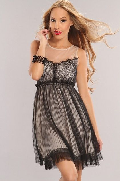 Black Beige Two Tone Mesh Sexy Party Dress