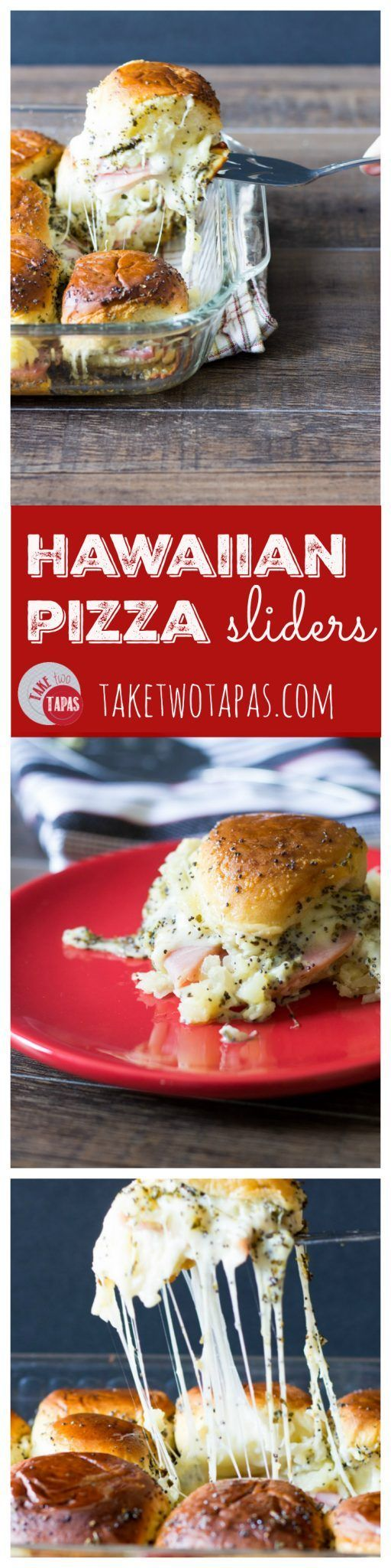 All the yummy ham, pineapple, and pizza spices on a Hawaiian pizza are found in these sliders. Don't forget all that stretchy cheese! Hawaiian Pizza Sliders Recipe | Take Two Tapas