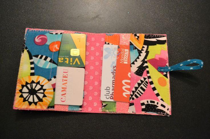Porte carte rose à paillette / porte carte de fidélité semi rigide : Porte-monnaie, portefeuilles par manou92290