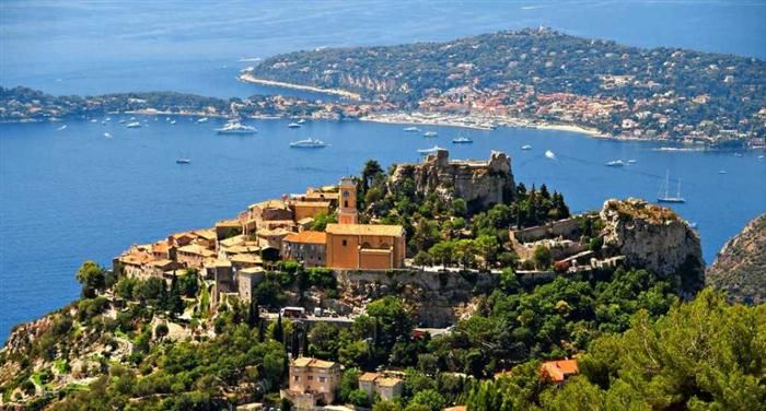Eze, France.          Eze is a collection of 13 villages with a combined population of less than 3,000 people. Situated along the exotic French Riviera it offers breathtaking views of the Mediterranean Sea. The area is especially favored by honeymooners and has a very strong romantic atmosphere.
