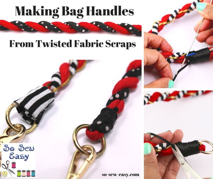 Making Bag Handles From Twisted Fabric Scraps - https://sewing4free.com/making-bag-handles-twisted-fabric-scraps/
