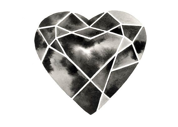 Original Watercolor  Cutting Diamonds Heart by GeometricInk, $50.00