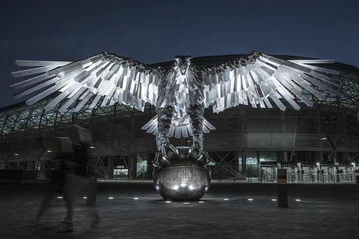 An Enormous Stainless Steel Sculpture of an Eagle Created for a Hungarian Football Club