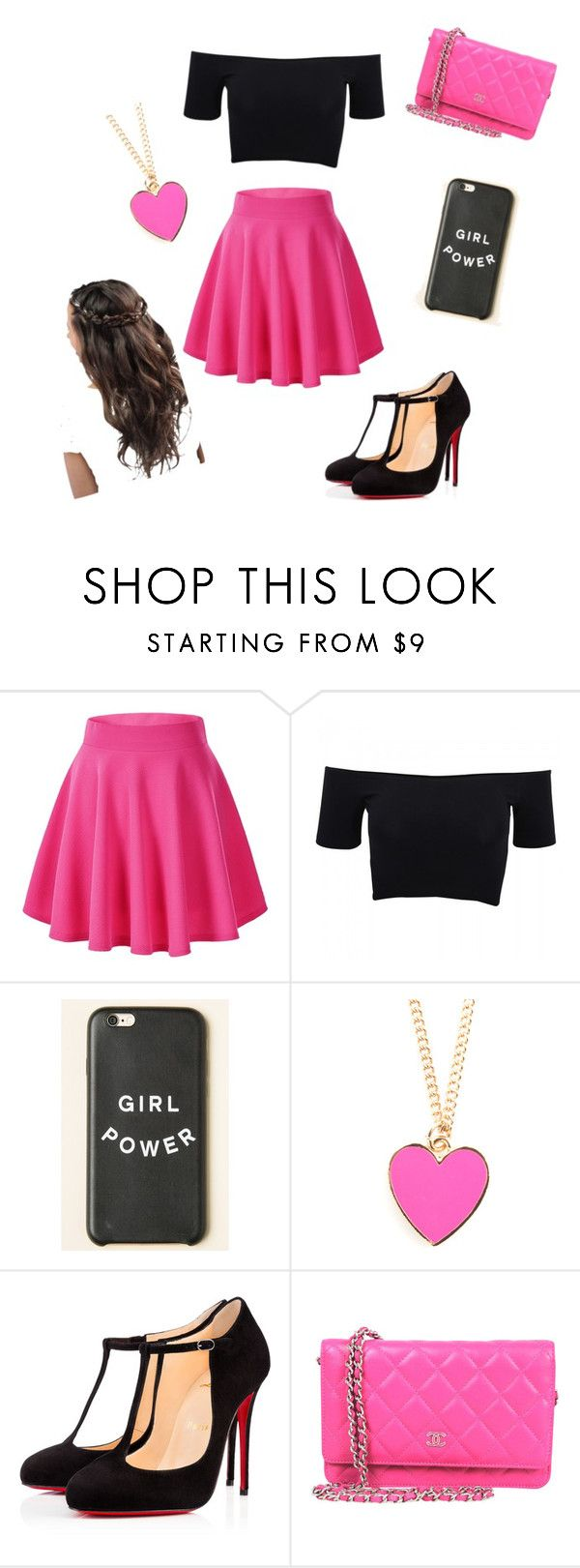 """Outings"" by lidage on Polyvore featuring American Apparel, Christian Louboutin, Pink and pretty"