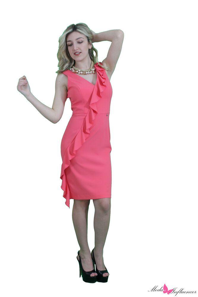 00537620396a Le migliori offerte per Abito donna Artigli salmone elegante con volant  taglia 42 46 cerimonia sera