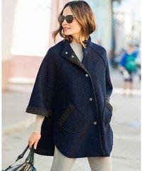 Blancheporte Kabát z vařené vlny nám. modrá/šedá