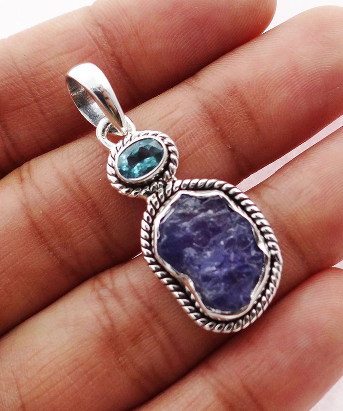 Natural Tanzanite Rough 925 Solid Sterling silver Pendant Jewelry TP-21 #Rananjay #HandmadePendant